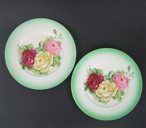 K T K Co Semi Vitreous Porcelain Plates Floral Roses Green Border Set of 2 & K T K Co Semi Vitreous Porcelain Plates Floral Roses Green Border 10 ...