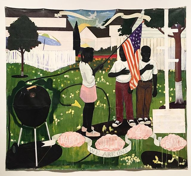 #KerryJamesMarshall 'Bang' 1994 • Marshall created several large scenes of suburban life, imagining black life as a romantic idyll. Here, under the setting sun, 3 children celebrate #IndependenceDay and pledge allegiance to the flag. The sound of both fireworks and gunfire, 'bang' floats as a subtle reminder of the specter or violence that looms over American history.