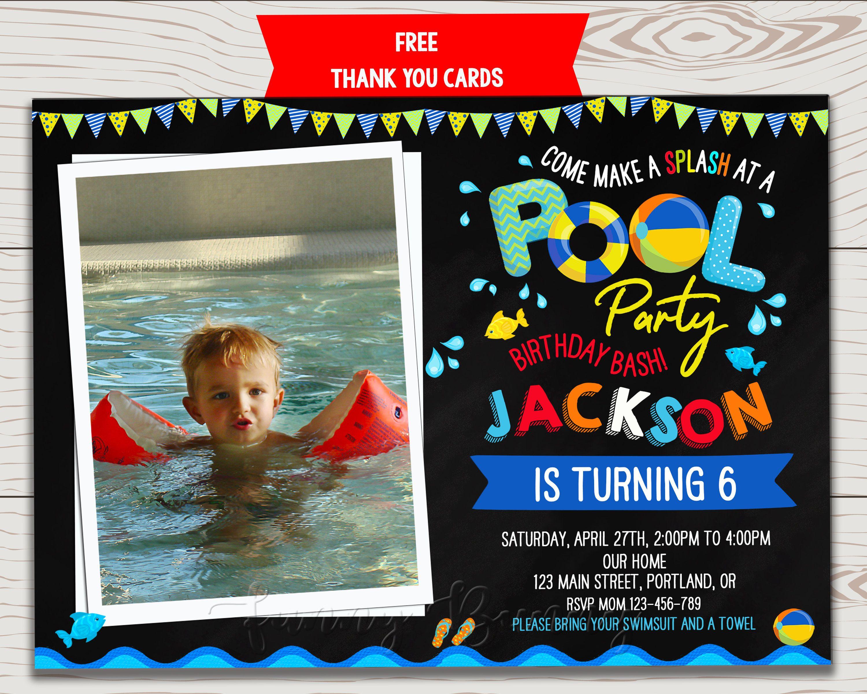 Photo Pool Party Birthday Invitation Waterslide Invitation Pool Party Invitation Boy In 2021 Pool Birthday Party Pool Party Invitations Pool Party Birthday Invitations