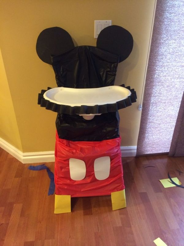high chair decor for Mickey Mouse themed 1st birthday party by jody