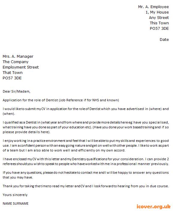 Postal Worker Sample Resume Dentist Cover Letter Example  Icover.uk  Cv  Pinterest .