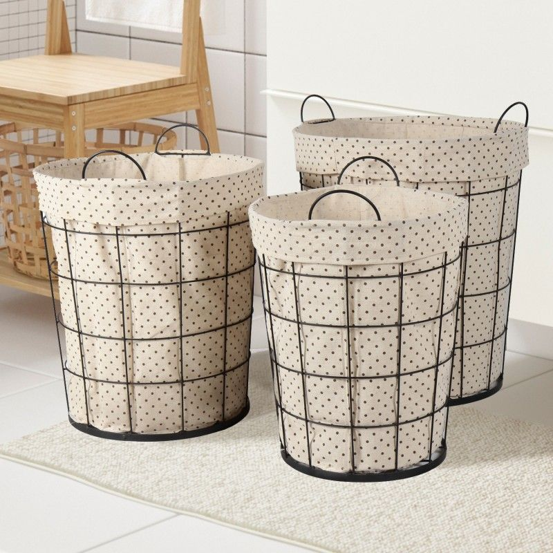 $89.99 - Adeco Multi-Purpose Tall Circular Baskets with Polka dot Lining Home Decor (Set of 3)