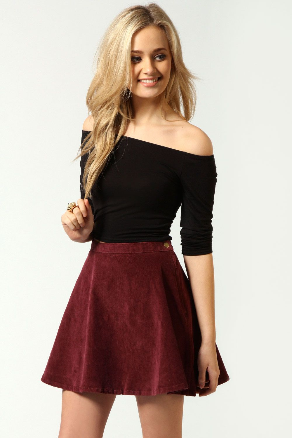 eed6182ae5 Cindy Cord Skater Skirt in wine (also black) | Outfit Ideas in 2019 ...