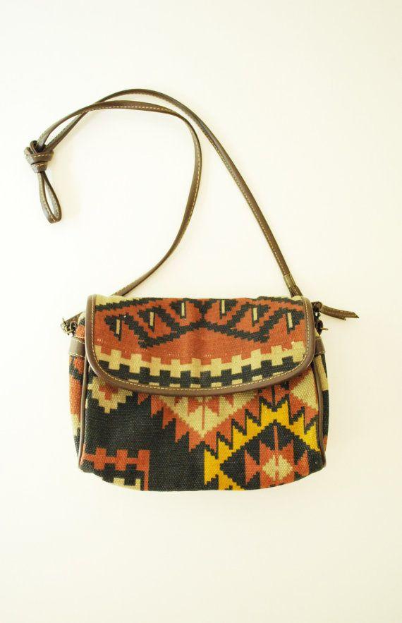 1980's Aztec Print Purse, Cross Body Boho Bag, Womens Accessories