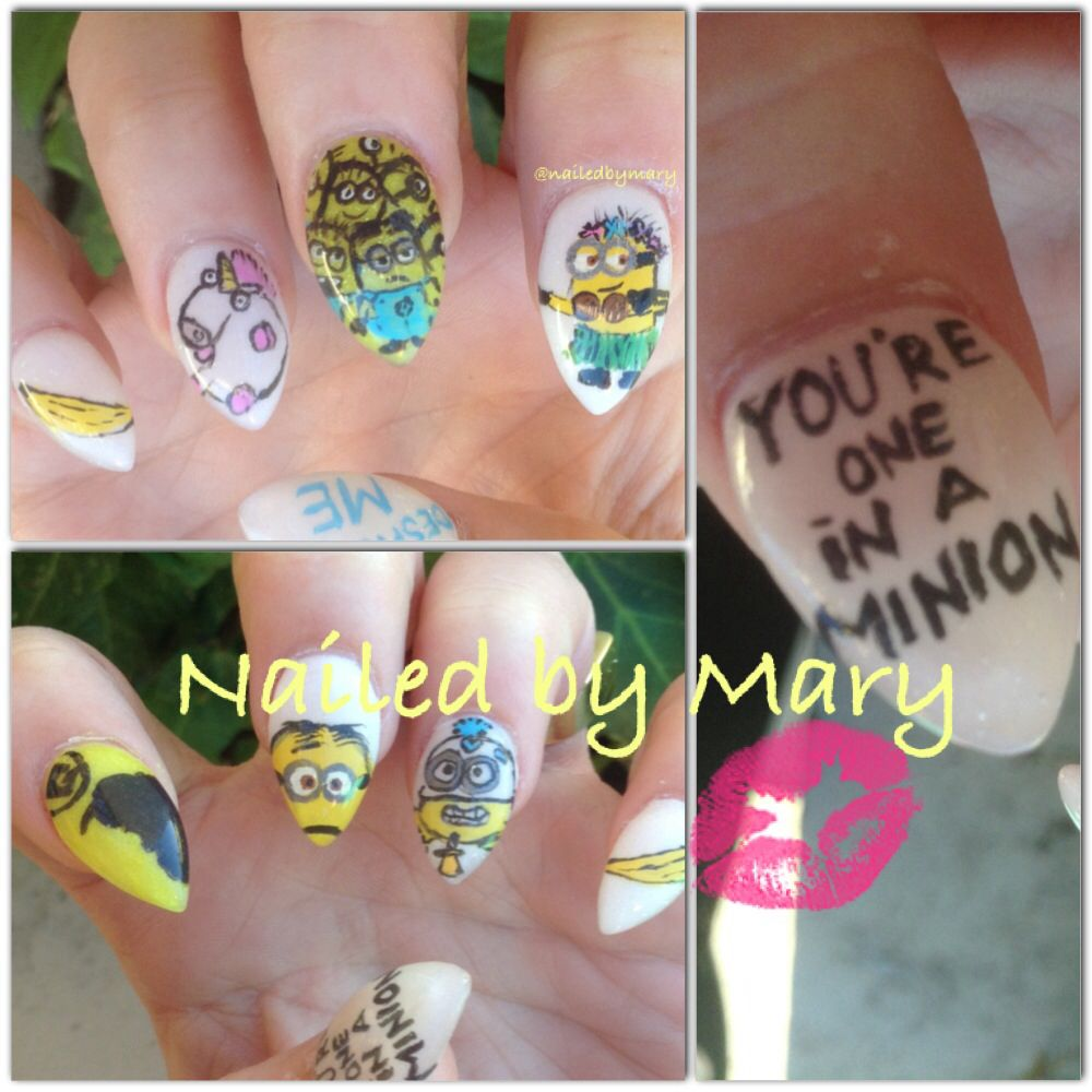 Stiletto Despicable me minion nails   Nailed by Mary   Pinterest