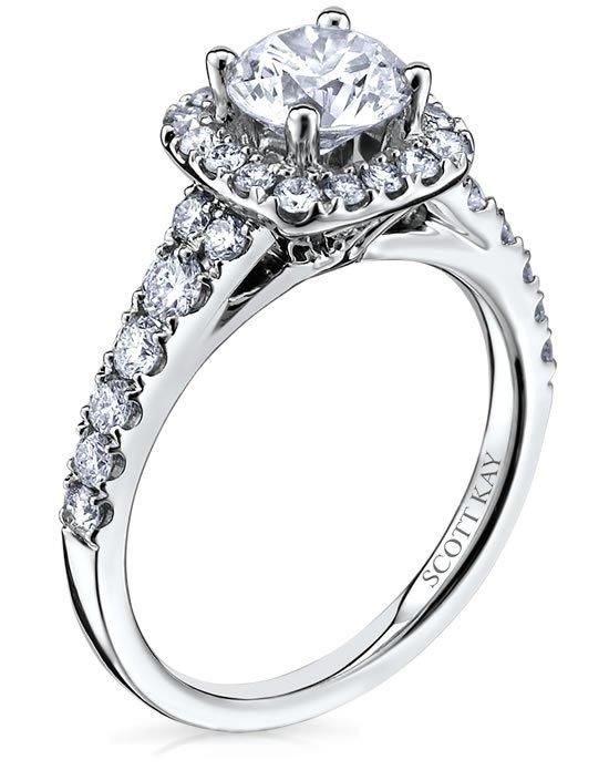 ladies 14kt white gold cushion halo mounting scott kay httpwww - Scott Kay Wedding Rings