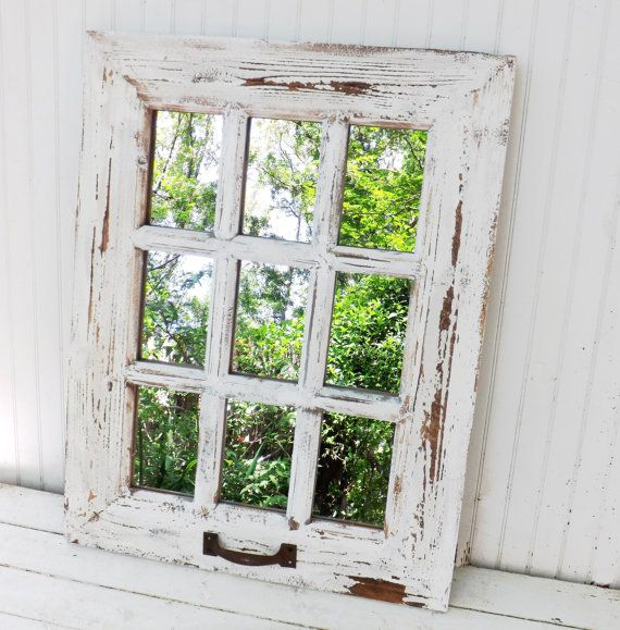 Rustic Farmhouse Window Mirror Window Pane Mirror Shabby Chic Mirror Large Wall Mirror Vintage Sty Shabby Chic Mirror Shabby Chic Wall Decor Window Pane Mirror