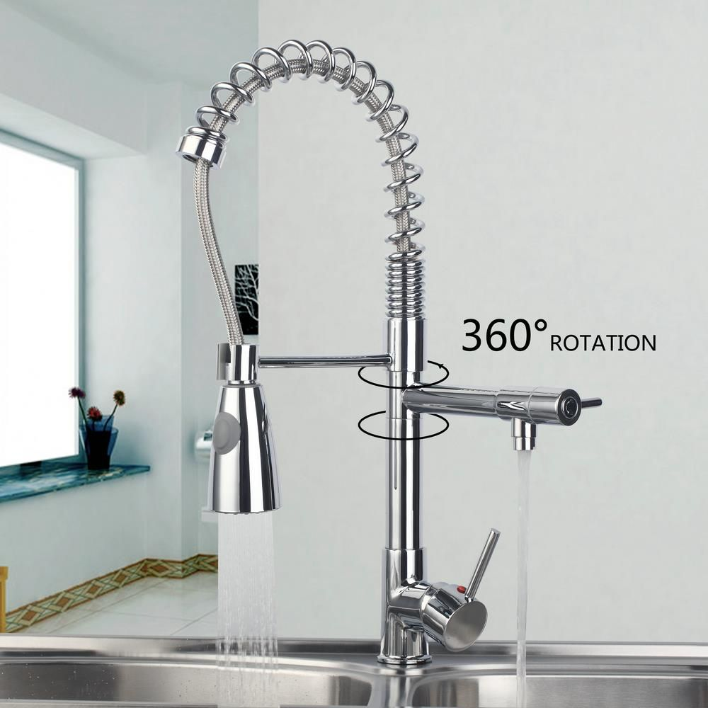 New Flexible Chrome Brass Pull Out Kitchen Faucet Swivel Spout Sink ...