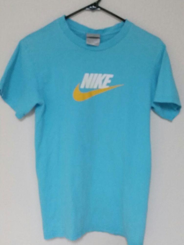 Women S Size Small Nike Logo T Shirt Light Blue Sun Yellow Ships Fast Nike Shirtstops Cool Shirts Tshirt Logo Mens Tshirts