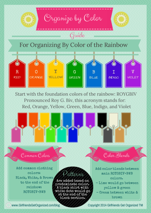 Organize your clothes by color of the rainbow free printable also rh pinterest