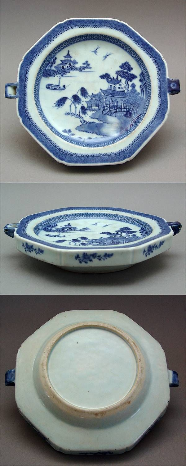 rare hot water plate decorated in under glaze blue and white of a river landscape