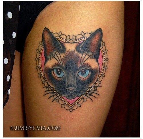 Cute Cartoon Like Colored Cat Portrait Tattoo On Thigh Tattoo Pm Cat Portrait Tattoos Cat Face Tattoos Cat Tattoo