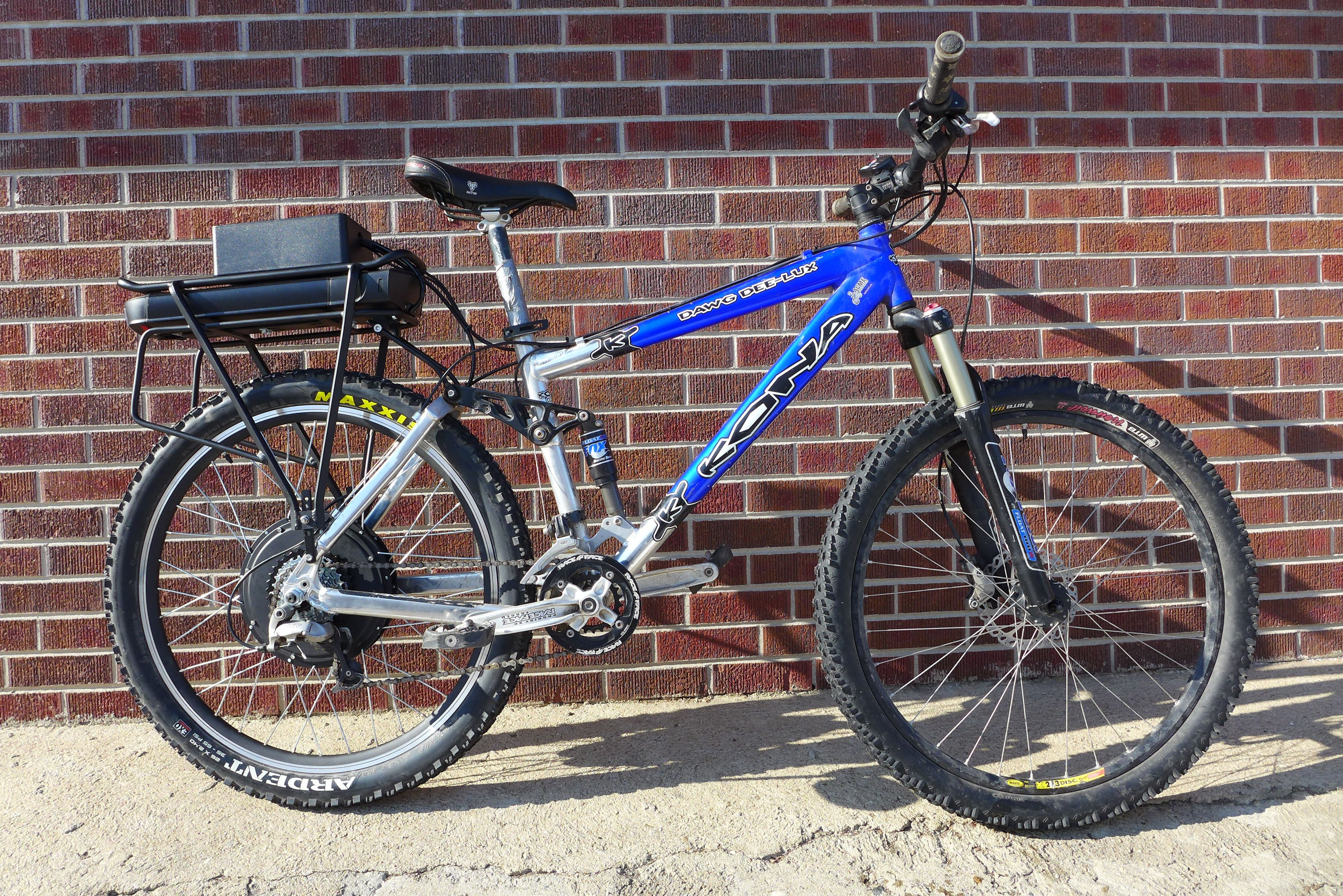 Ebo Mountaineer Electric Bike Kit Installed On A Full Suspension Kona Mountain Bike Electric Bike Kits Monster Bike Electric Bike