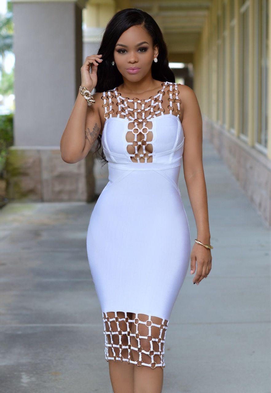 Naples White Gold Decor Luxe Bandage Dress