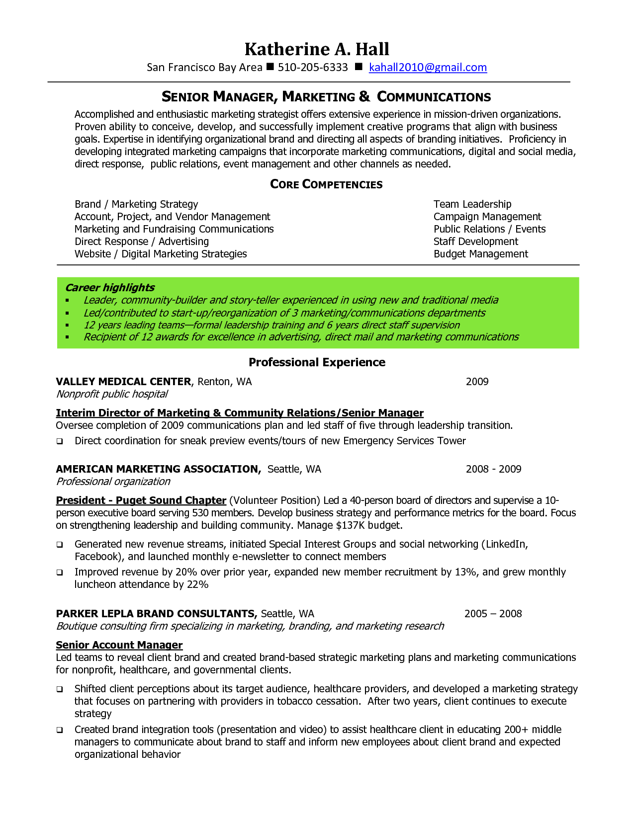 sle resume for marketing program manager marketing