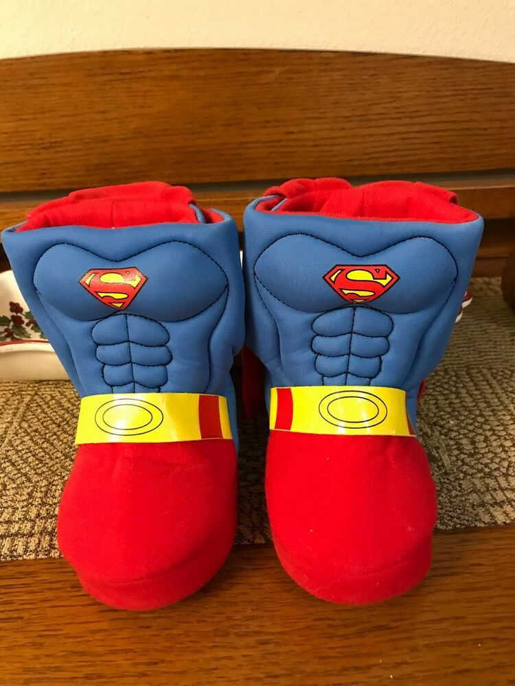 c2dc3792a75 Superman Slippers Kids With Capes Baby Toddler Small 5 6 Width M Boys Girls