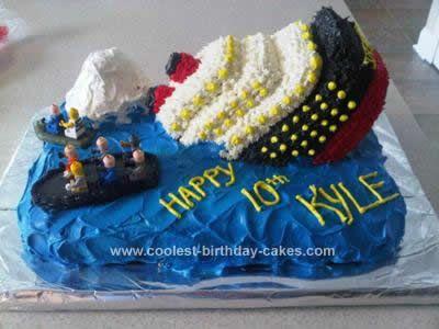 Homemade Sinking Titanic Cake