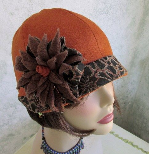 Vintage Womens Flapper Hat Cloche Pattern Close fitting brimmed hat with 6 piece crown Large fleece fabric flower trim Head size 20 12 23 Can be made of felt pictured fle...