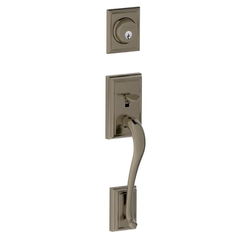 Schlage F58add620 Antique Pewter Addison Single Cylinder Exterior Entrance Handleset From The F Series Antique Pewter Schlage Single Cylinder Deadbolt