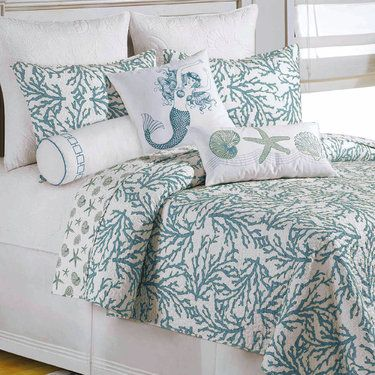 Cora Turquoise Coral Coastal Quilt Bedding Home Home Decor