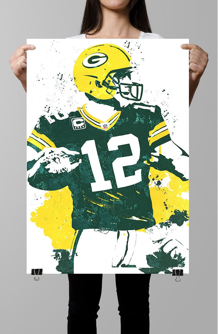 Aaron Rodgers Green Bay Packers Poster By Gofigureartstudio Sports Prints Unique Poster Sports Art
