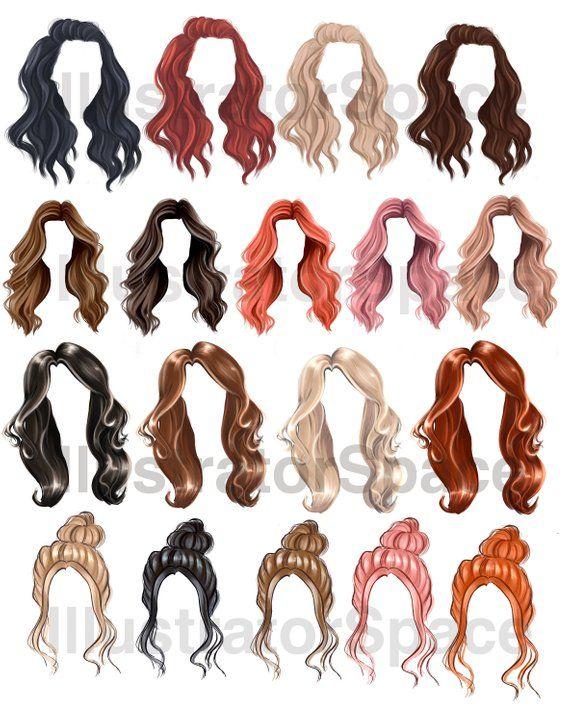 Hair Clip Art Digital Download Hair Set Clipart Custom Etsy In 2020 Hair Clipart Download Hair Hair Sketch