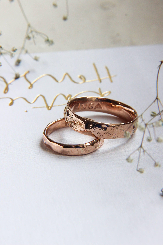 Strukturierte Ehering Set, grobe Hochzeit Ring, rose gold Band