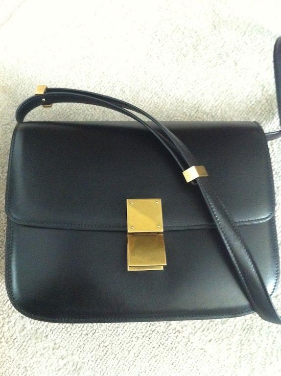 7964f51ddb5 Céline BOX BAG - Note metal on shoulder strap. 9″ W x 8″ H x 3.5″ D  37″  length of strap
