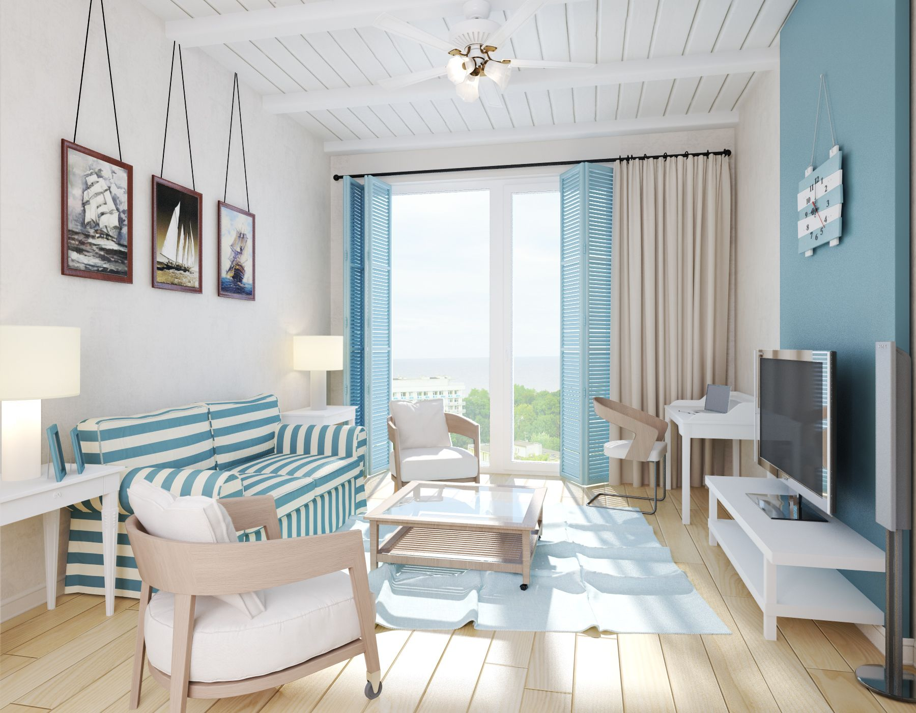 a small apartment in a mediterranean style with a view of the sea a small apartment in a mediterranean style with a view of the sea
