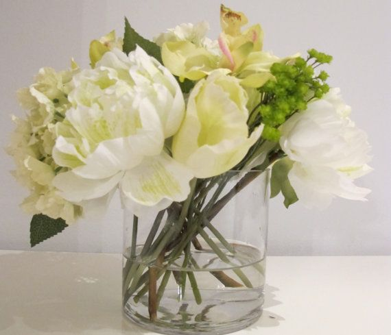 100 Faux White Peonies Tulips Hydrangea Green Cymbidium Orchids And Gypsophelia In A 5 Cylinder Vase With Illusion Water
