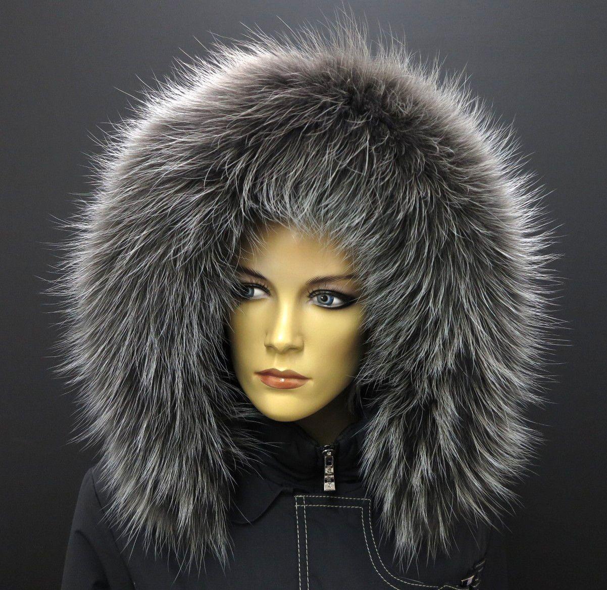 krásná kožešina na kapuci - barvený finský mývalovec - barva šedá s melírem