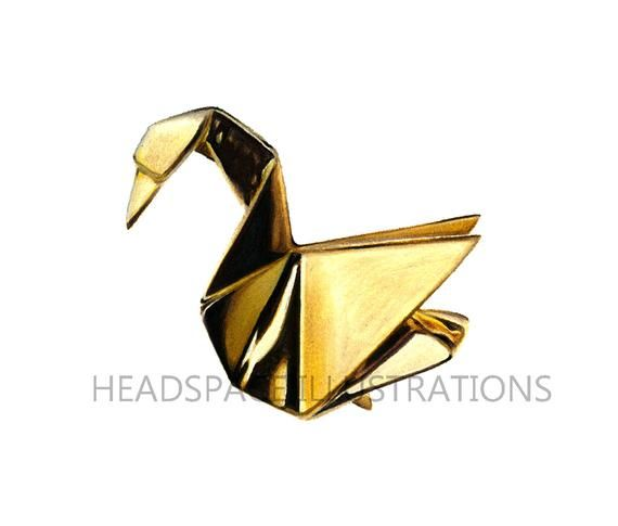 Photo of Gold Crane Bird Swan Origami Drawing – Colored Pencil Art Print by Headspace Illustrations