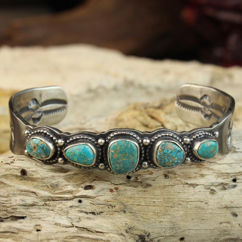Rare Candelaria Mine Turquoise silver bracelet by Virgil Begay, Navajo