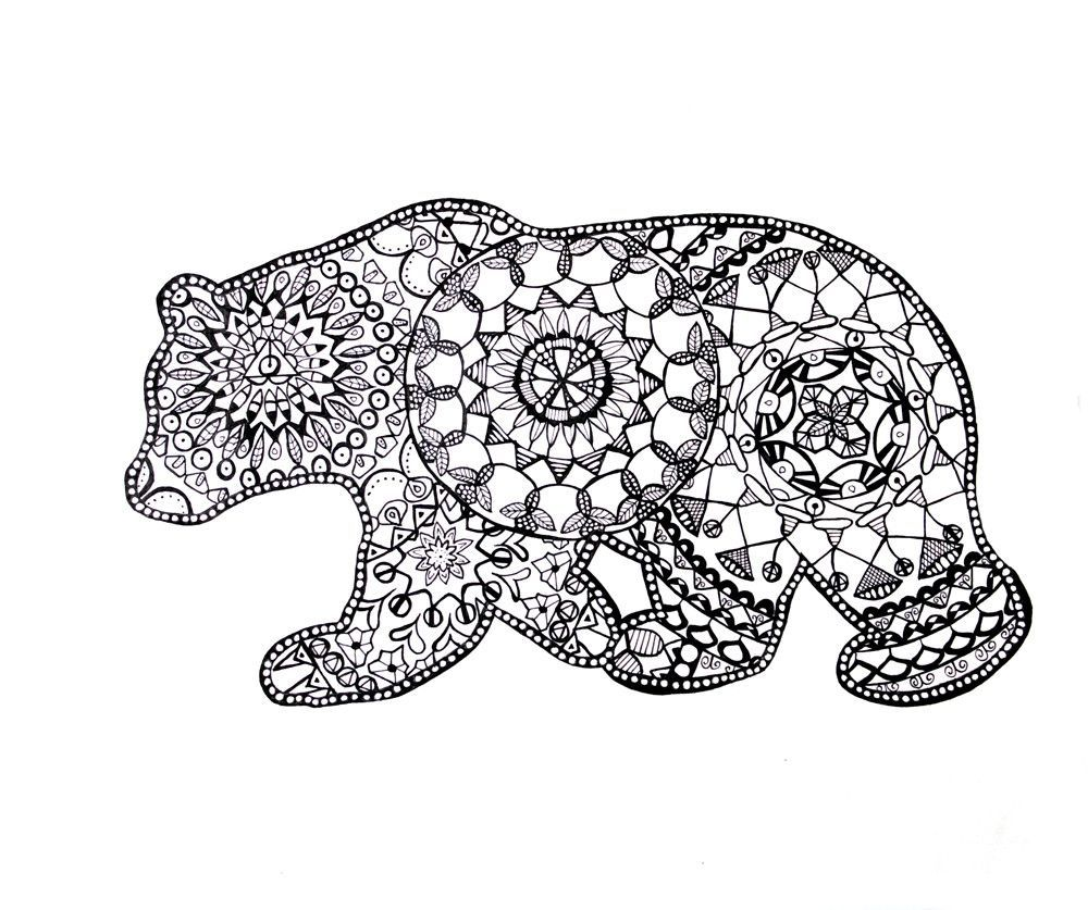 California Bear Mandala Drawing Fine Art Prints | coloring pages ...