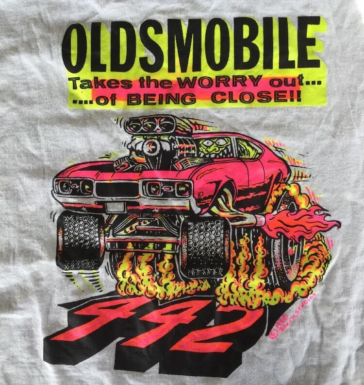 b3d666151 Vintage Oldsmobile 442 Hot Rod Car T Shirt Graphic by Roach Studios 1968  Flames #RoachStudios #GraphicTee