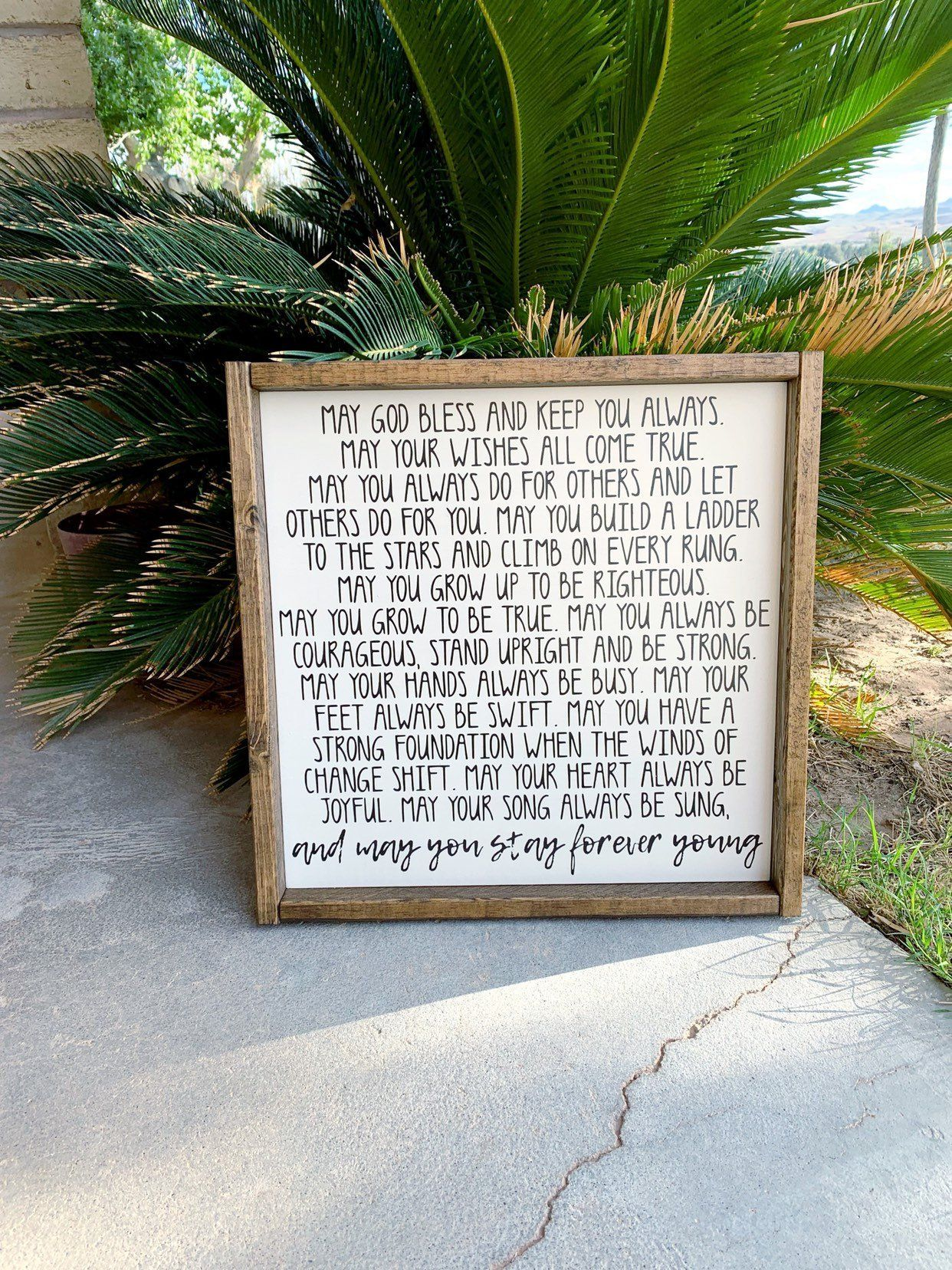 May You Stay Forever Young Framed Wood Sign Stay Forever Young