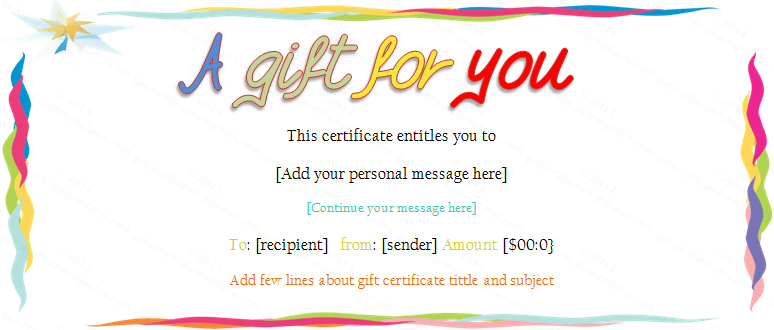 1000 images about Gift Certificates – Birthday Gift Coupon Template