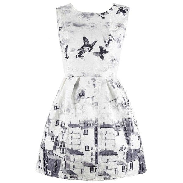 Vintage Butterfly Printing A-line Dress (€13) ❤ liked on Polyvore featuring dresses, vestidos, robes, no sleeve dress, white butterfly dress, sleeveless a line dress, sleeveless dress and white dress