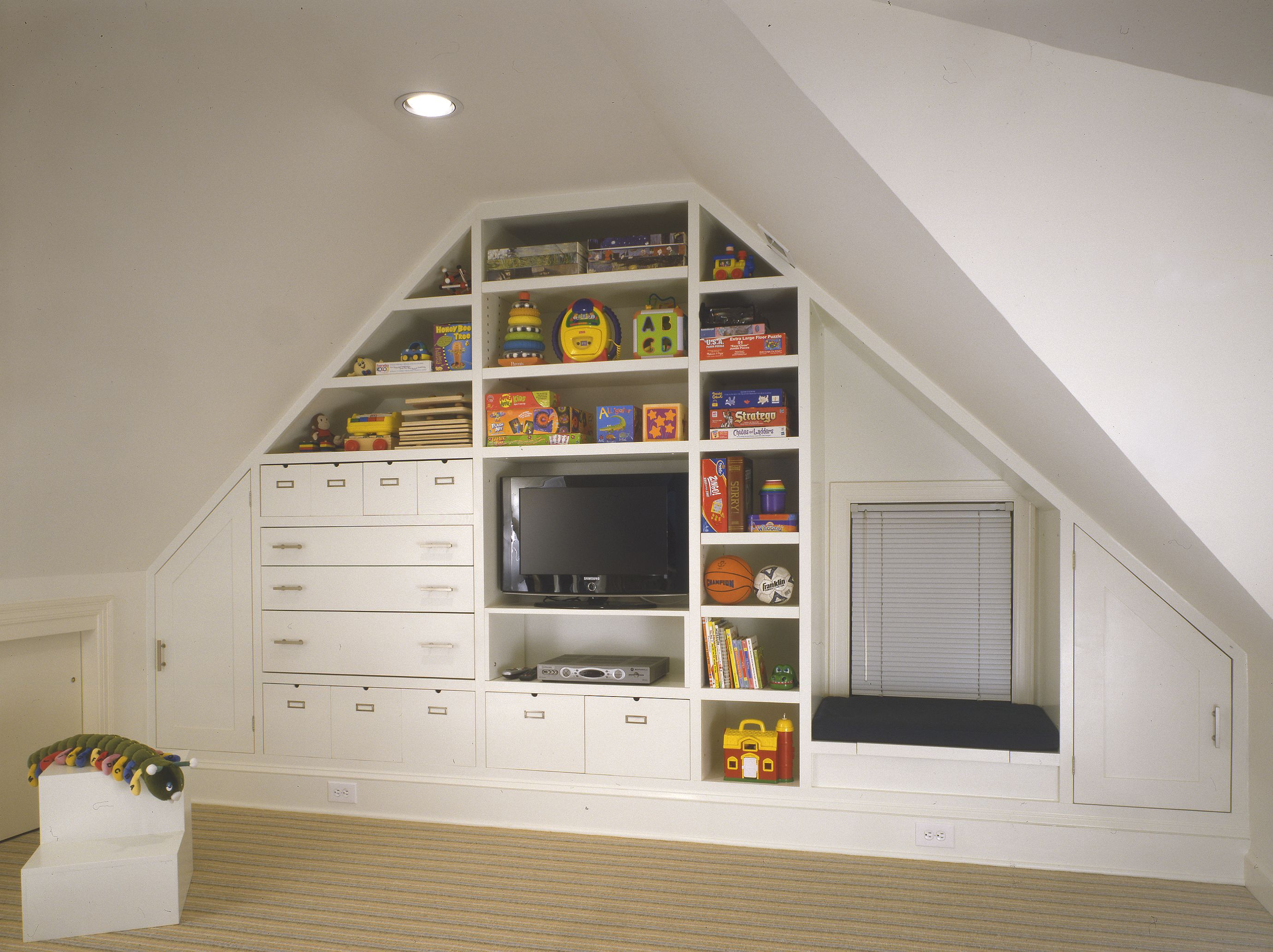 making a playroom in your attic | wooden wall shelves, playroom