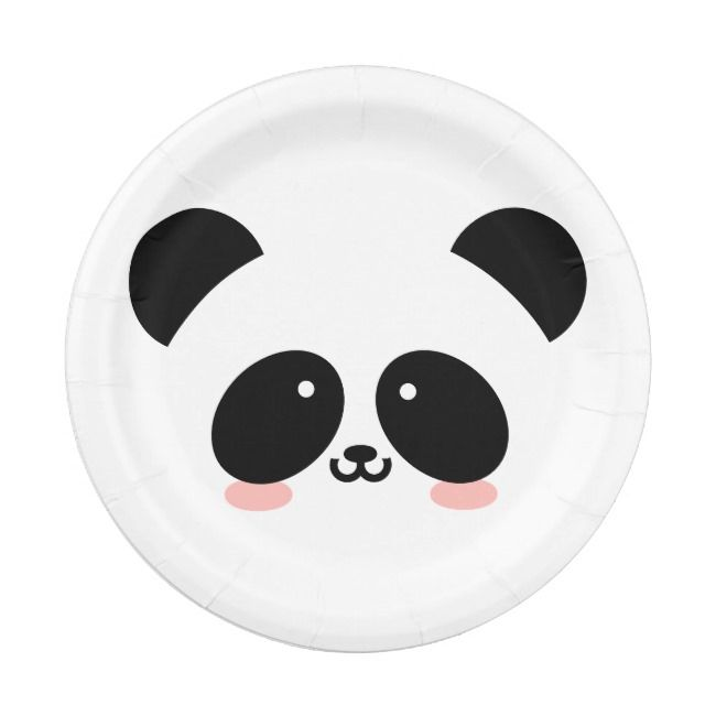 Cute Kawaii Panda Add Your Name Paper Plate