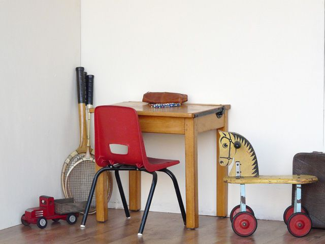 A wonderful old school desk, which probably dates back the 1950s. It is of a solid beech construction.  Perfect for kids who want to hide stuff away.