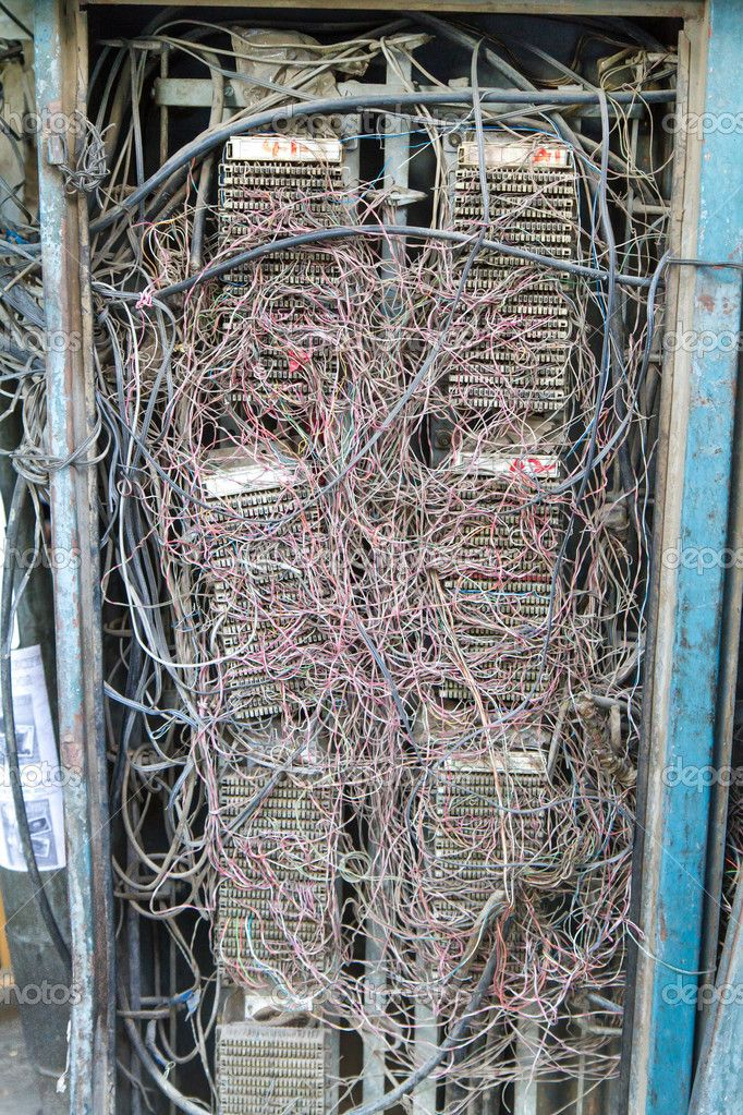 depositphotos 12379661 old telephone wires in a metal case in india rh pinterest com Telephone Wiring Color Code Telephone Wiring Basics