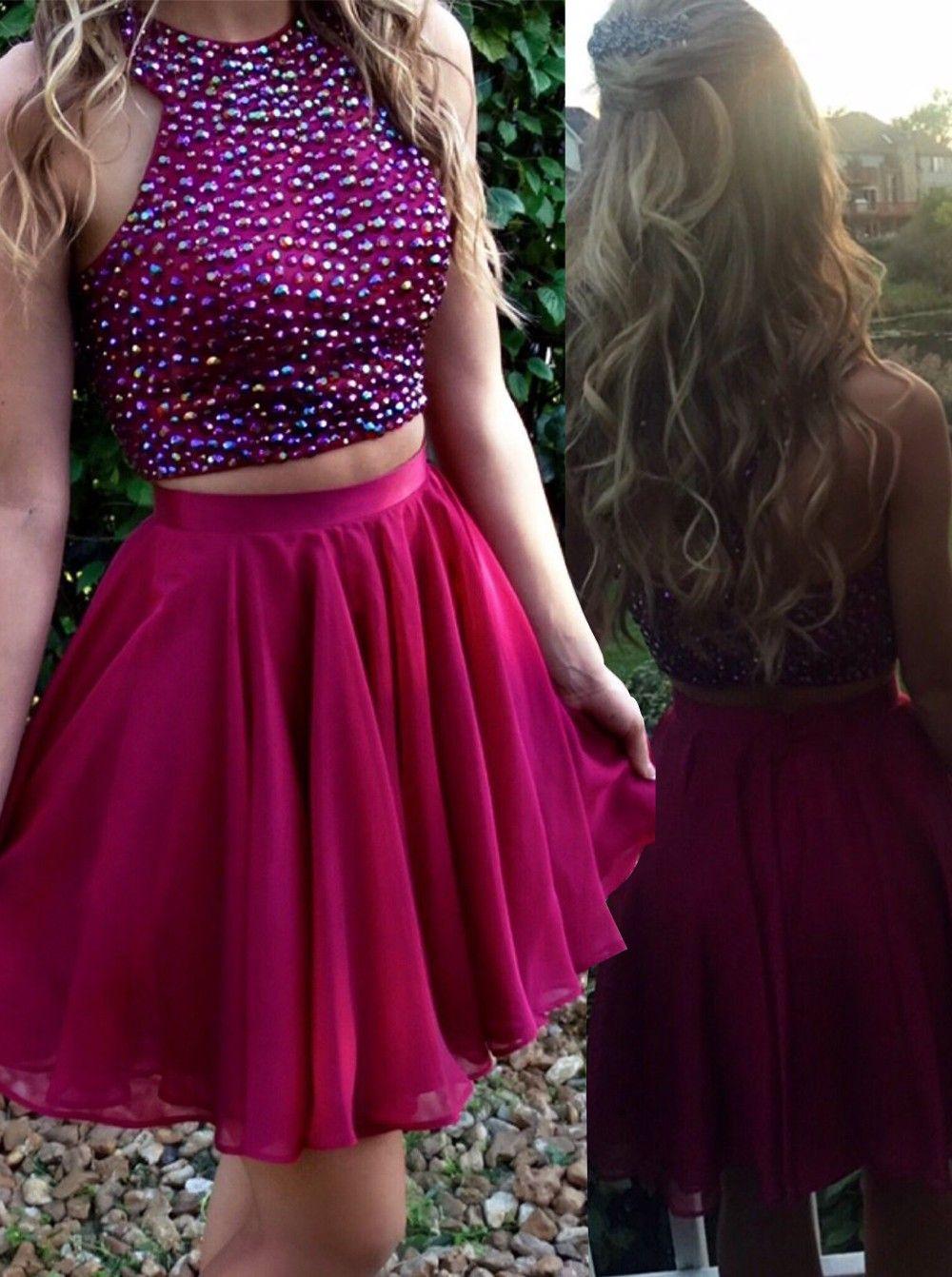 Hot pink homecoming dress  Hot Sale Two Piece Short Grape Chiffon Homecoming Dress with Beading