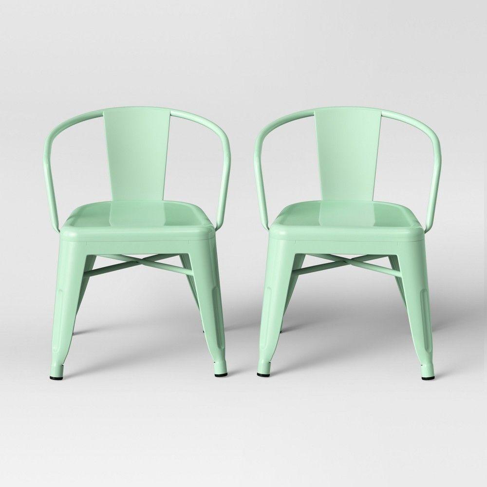 Set Of 2 Kids Industrial Activity Chair Mint Pillowfort