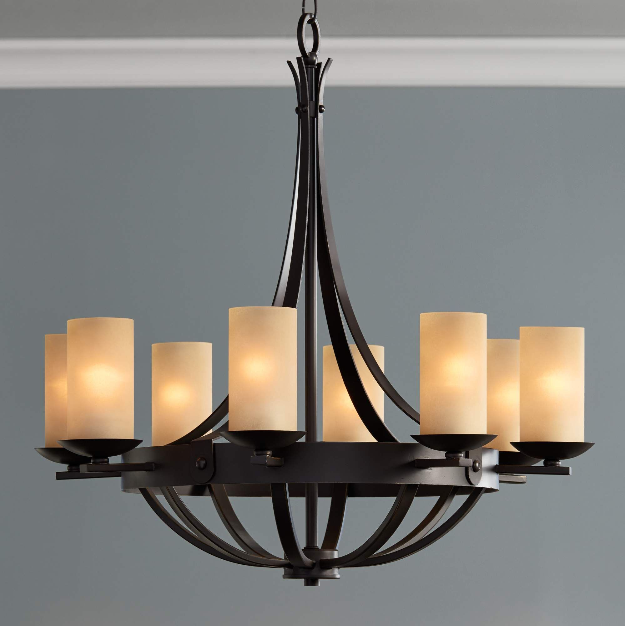 "Casual Dining Room Chandeliers: Sperry 28"" Wide Bronze And Scavo Glass 8-Light Chandelier"
