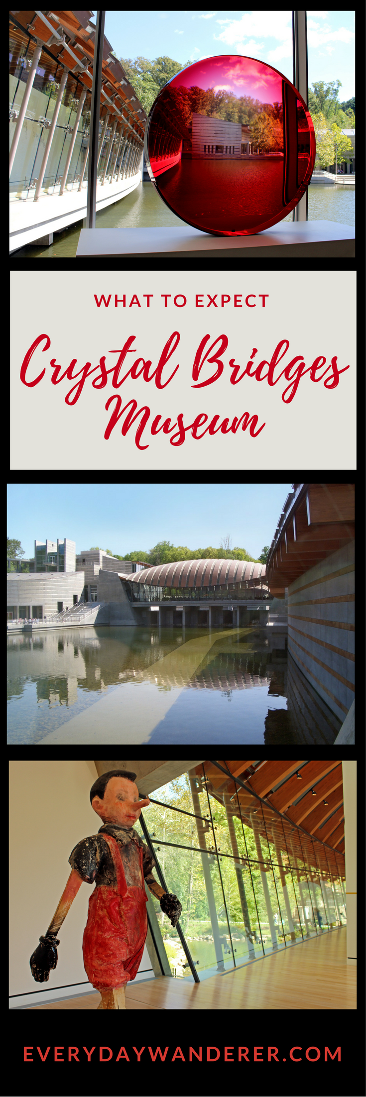Crystal Bridges Museum of American Art in Bentonville, Arkansas.  What to expect when you visit.  #artmuseums #art #arkansas