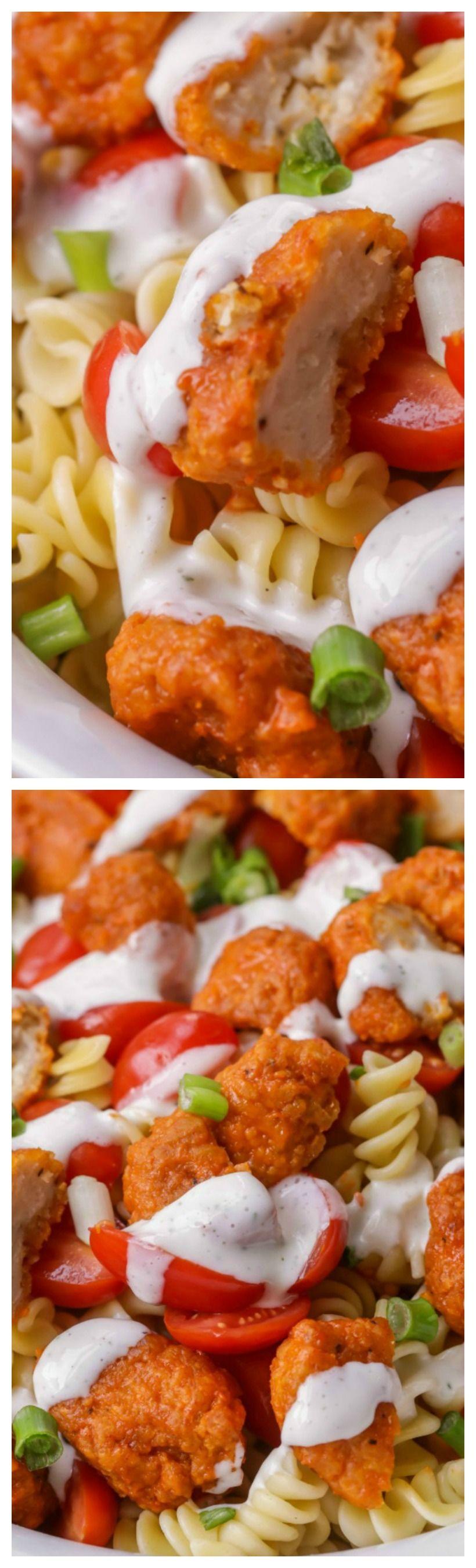 Buffalo Chicken Pasta Salad ~ Seriously so good and tasty #buffalochickenpastasalad