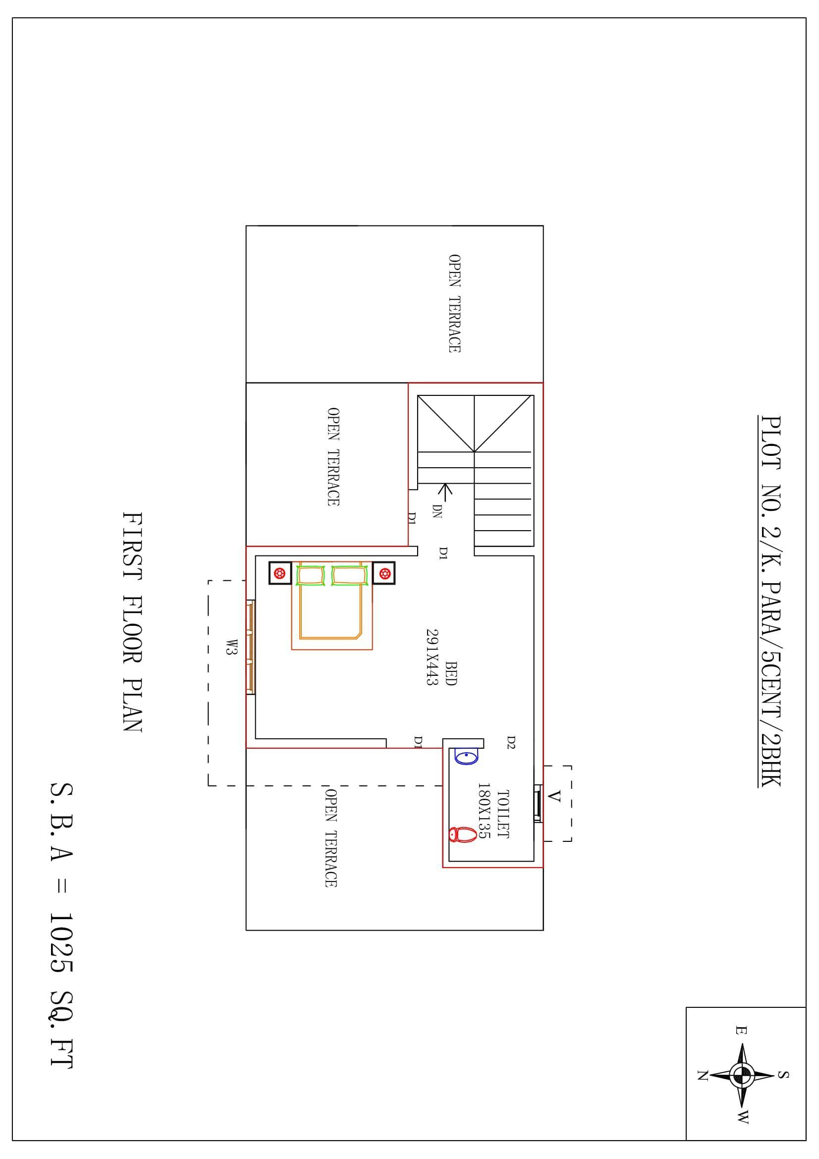 Shobhanam, 5 Cents, 1025 Sqft, 20 Lakhs Villa Floor plan