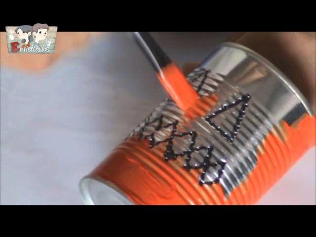 Cómo reciclar una lata para Halloween (How to recycle a can for Halloween)