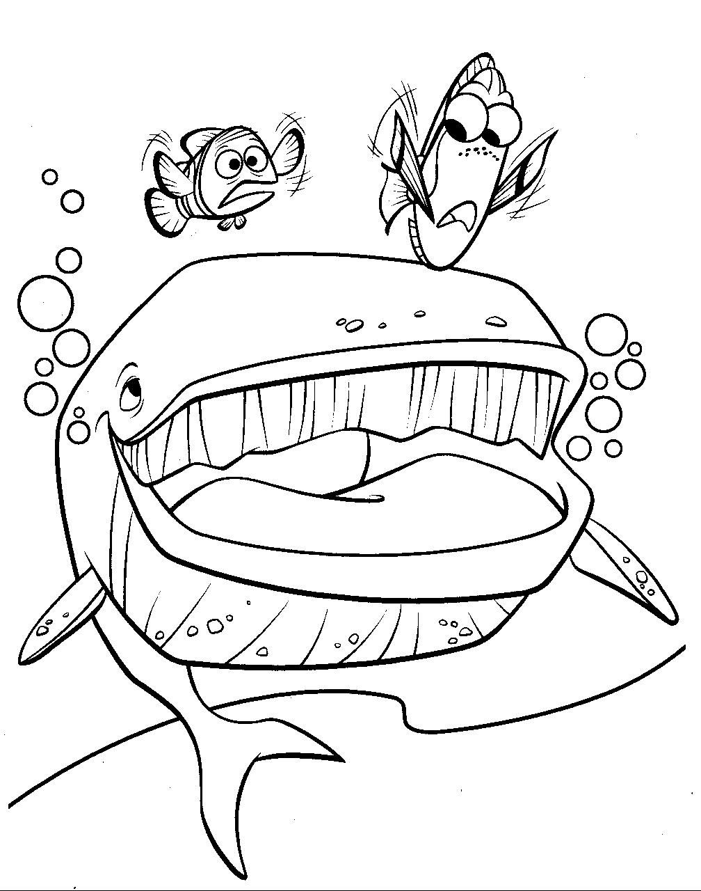 Nemo And The Big Whale Whale Coloring Pages Nemo Coloring Pages Finding Nemo Coloring Pages